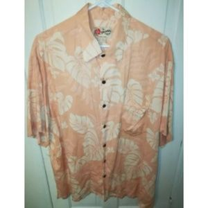 Hilo Hattie Rayon Floral Hawaiian Button Up Shirt